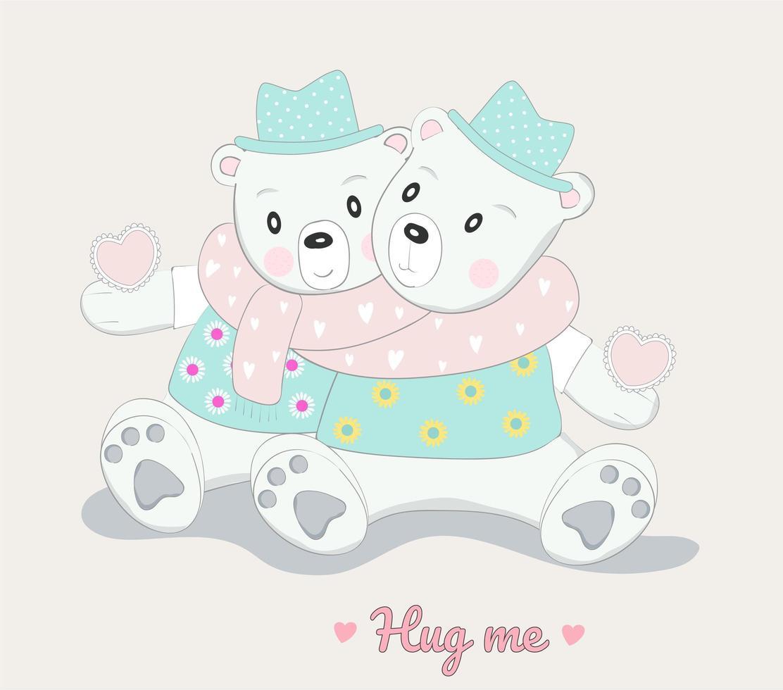 personnages mignons de bébé ours étreignant vecteur