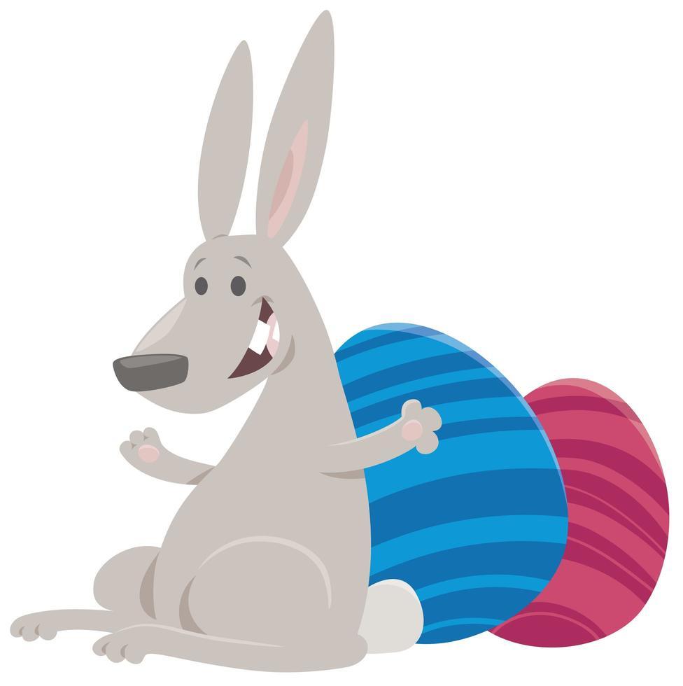 dessin animé, lapin pâques, à, oeufs colorés vecteur