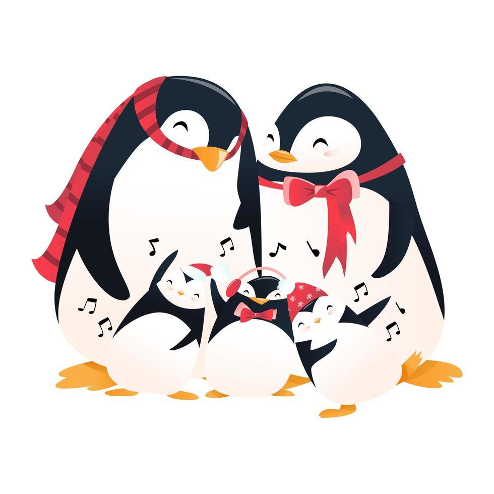 famille de pingouins de vacances de dessin animé super mignon vecteur