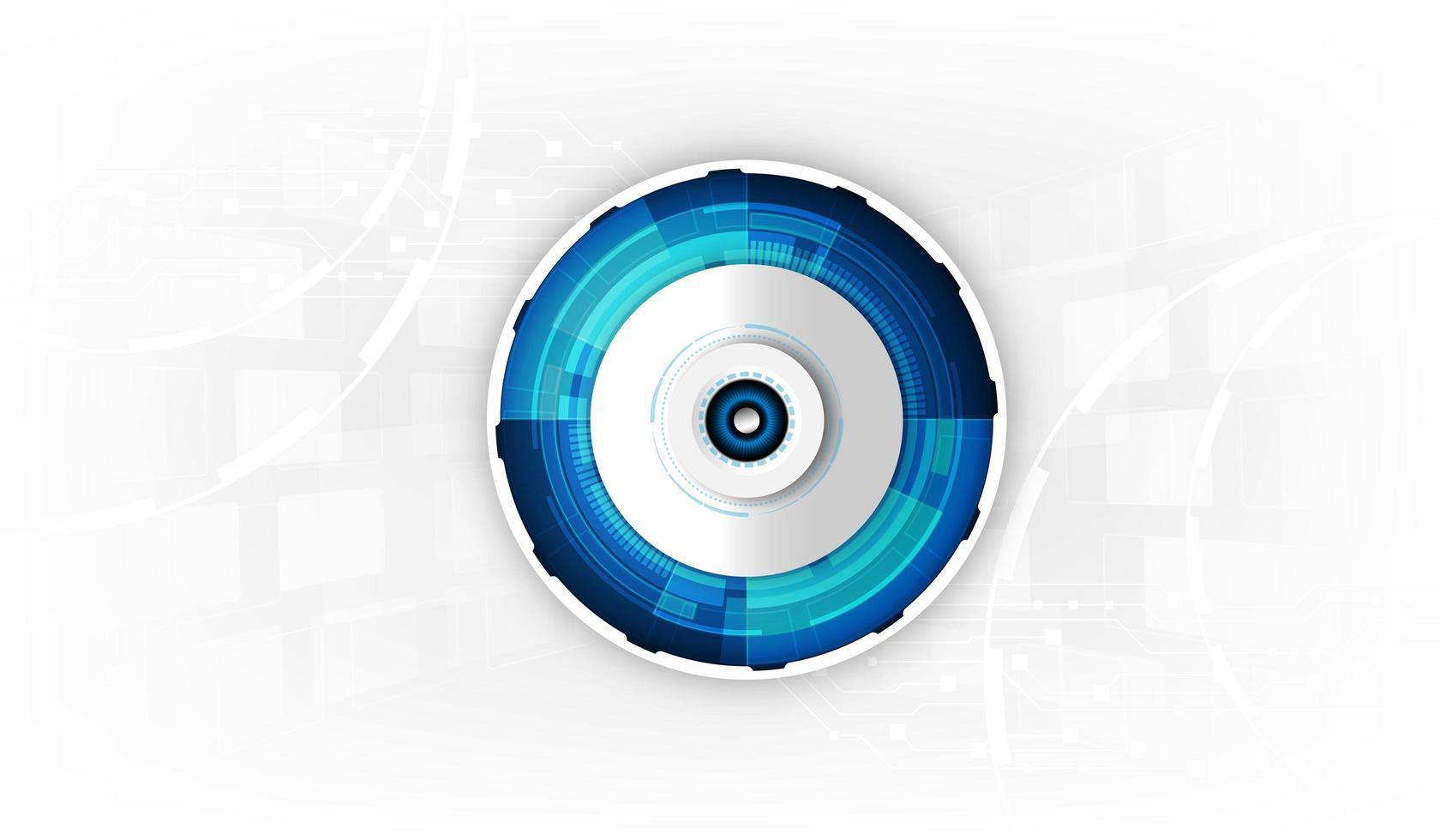 globe oculaire futuriste abstrait sur circuit imprimé vecteur