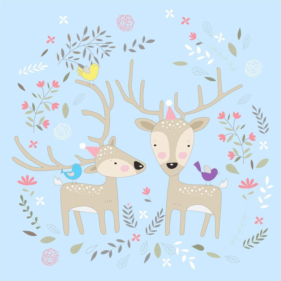 joli bébé cerf avec des fleurs vecteur