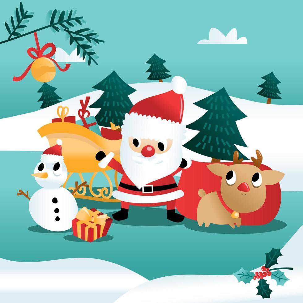 amusement, dessin animé, noël, vacances, hiver, scène vecteur