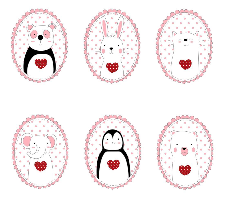 animaux mignons dessinés à la main dans des cadres ovales vecteur