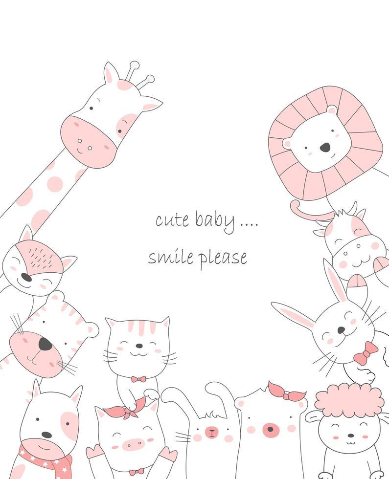 dessin animé animal mignon style dessiné à la main vecteur