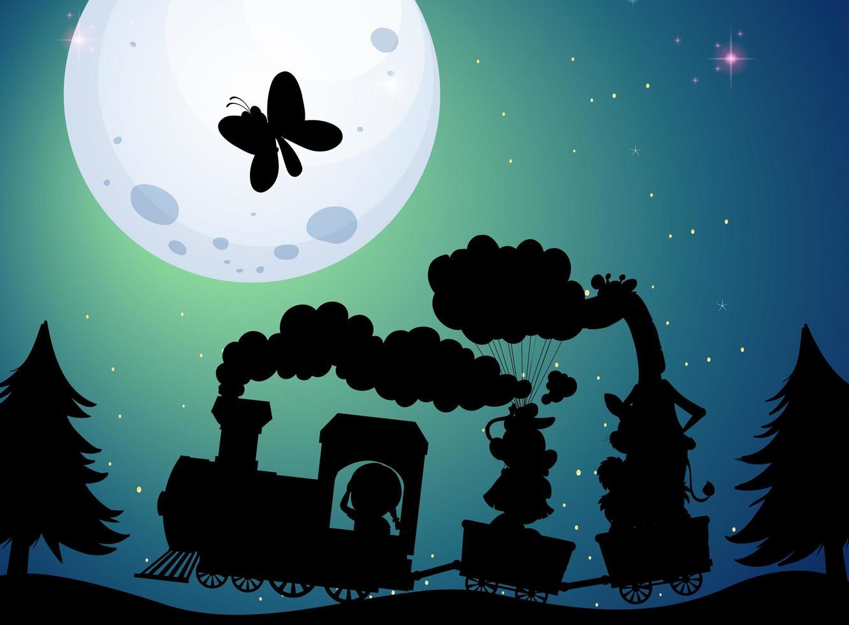 voyage en train à la scène de silhouette de nuit vecteur