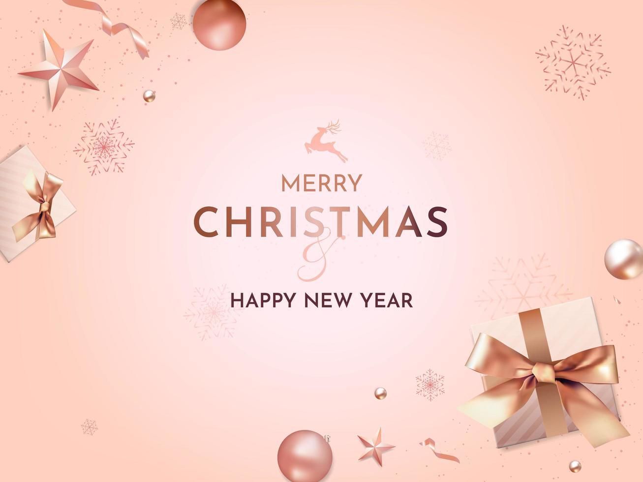 voeux de Noël et du nouvel an avec des décorations de Noël réalistes vecteur