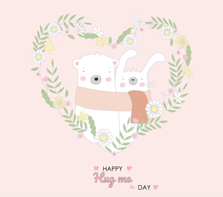 mignon bébé lapin et ours en coeur floral vecteur
