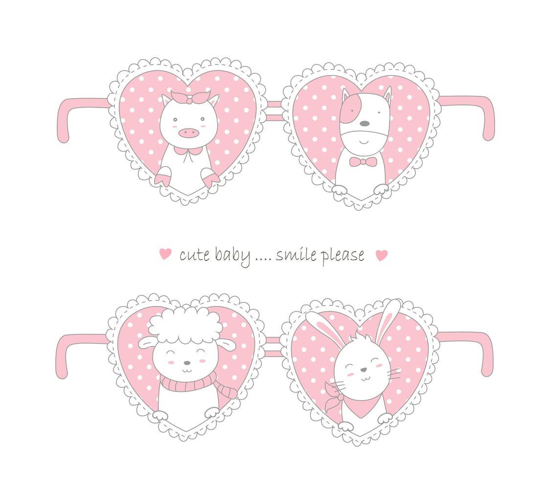 conception de la Saint-Valentin avec des animaux mignons dans les coeurs vecteur