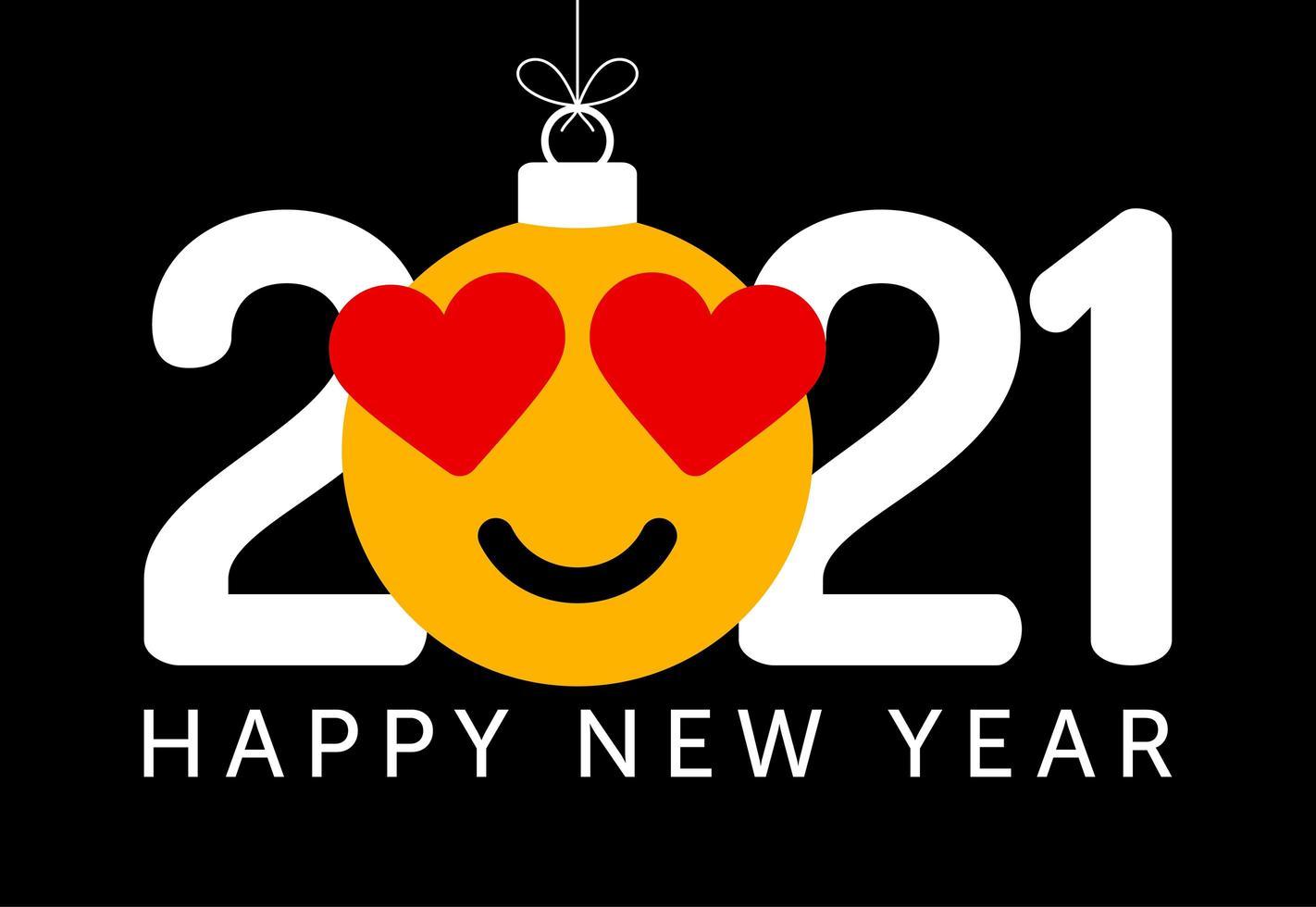 Voeux de nouvel an 2021 avec ornement emoji oeil de coeur vecteur