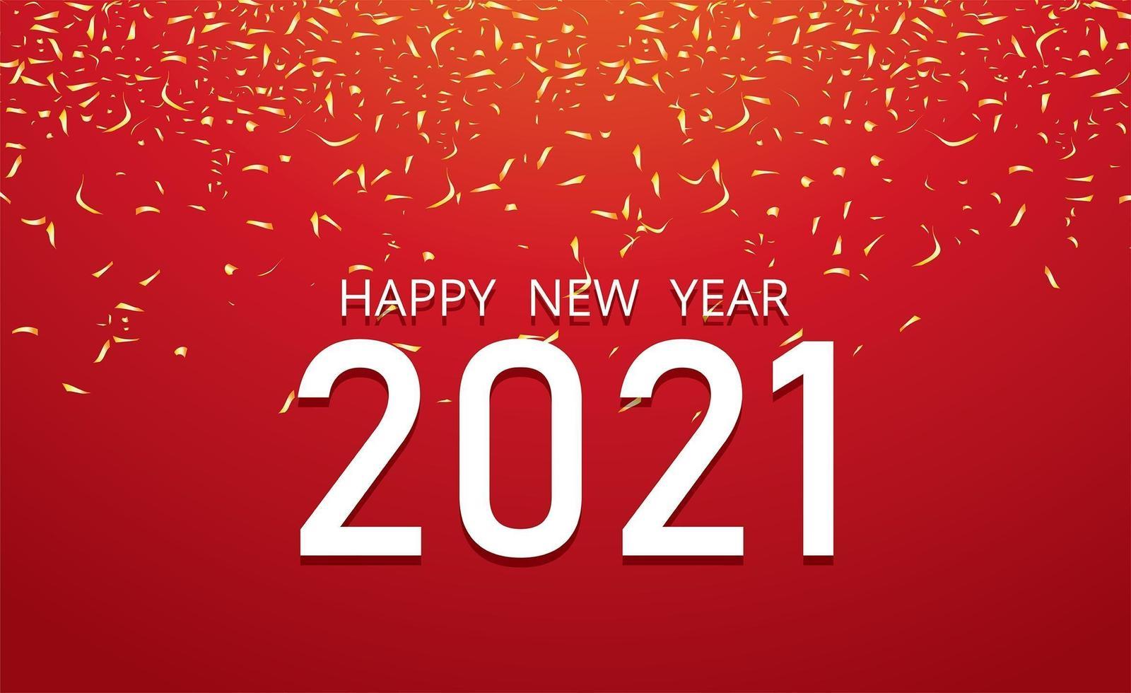 bonne année 2021 et confettis sur rouge vecteur