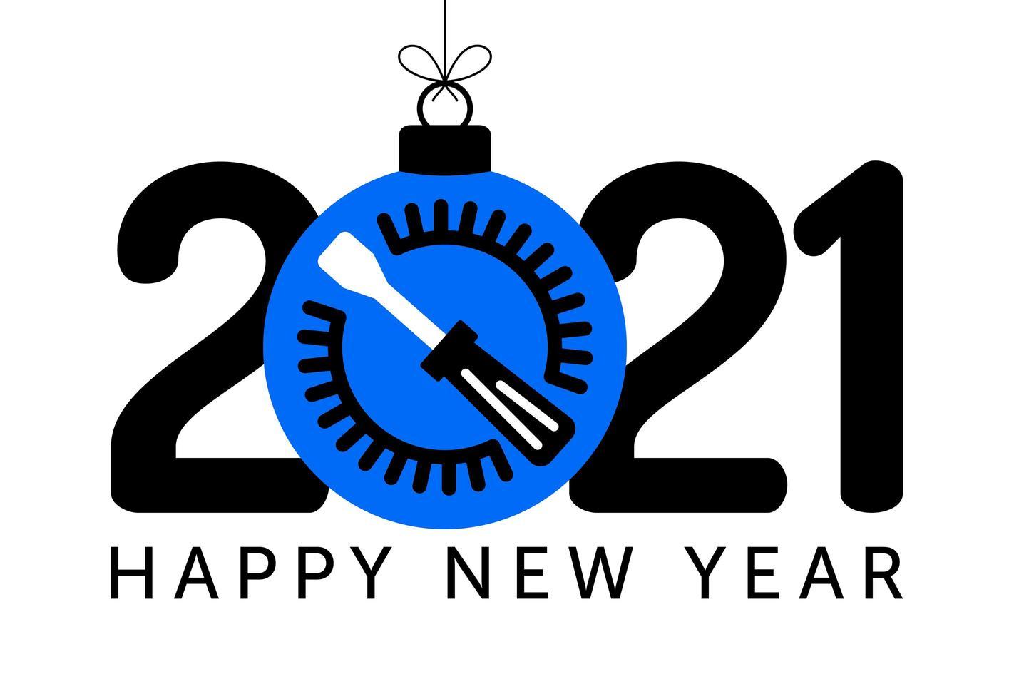 Voeux de nouvel an 2021 avec ornement de tournevis vecteur