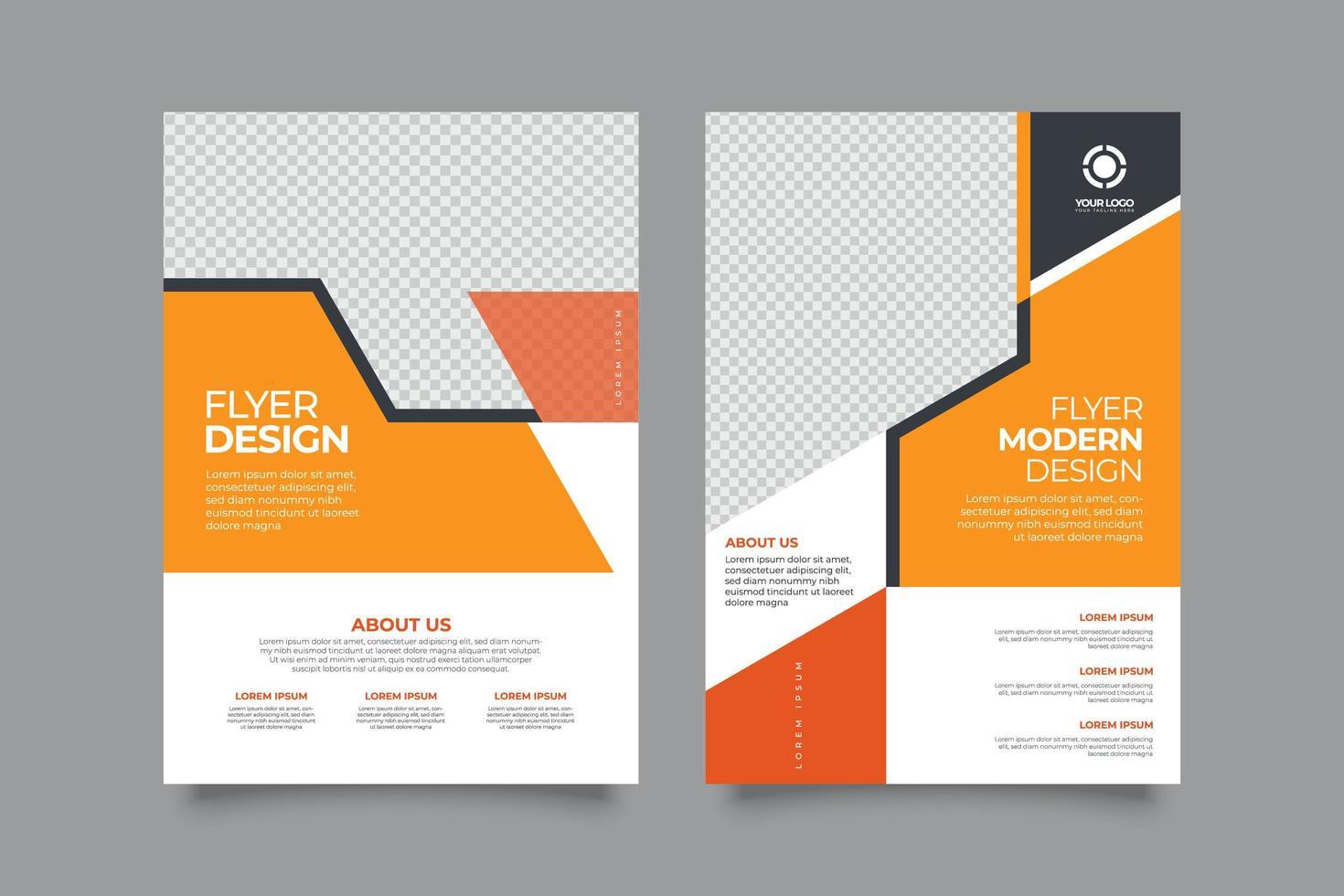 modèle de disposition de couverture d'entreprise avec des formes orange vecteur