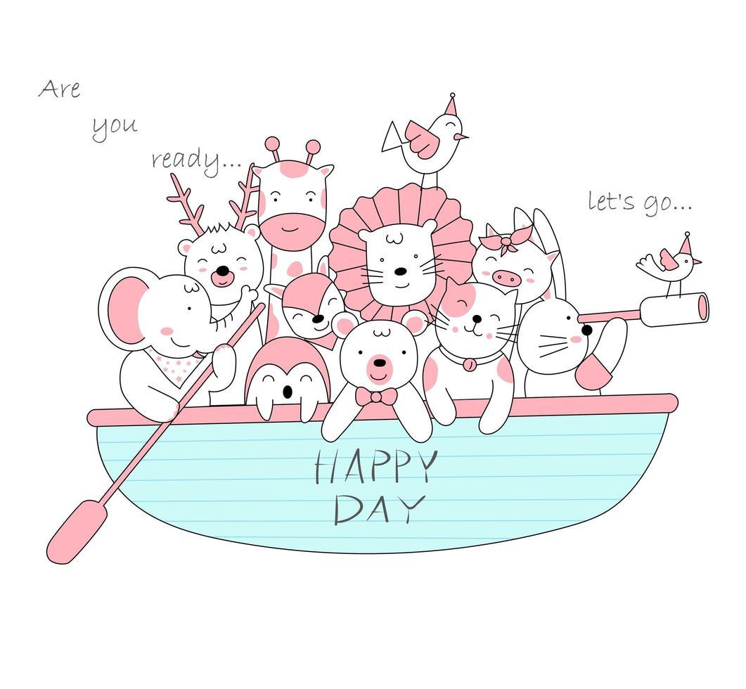 adorables bébés animaux en bateau vecteur