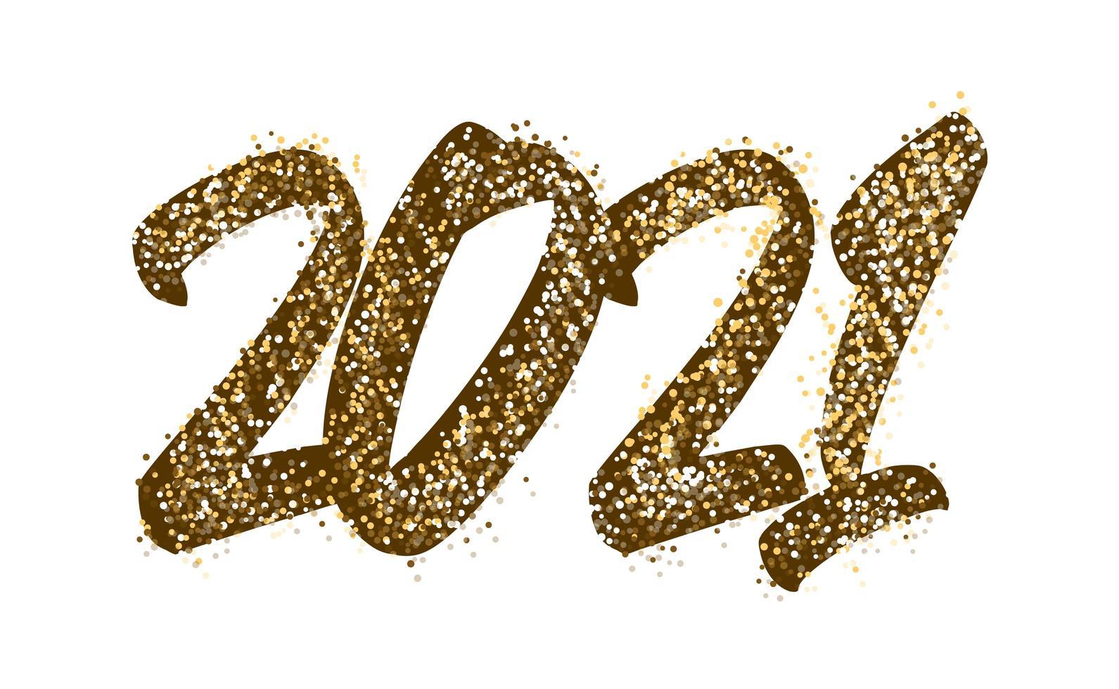 Typographie de l'étincelle d'or 2021 vecteur