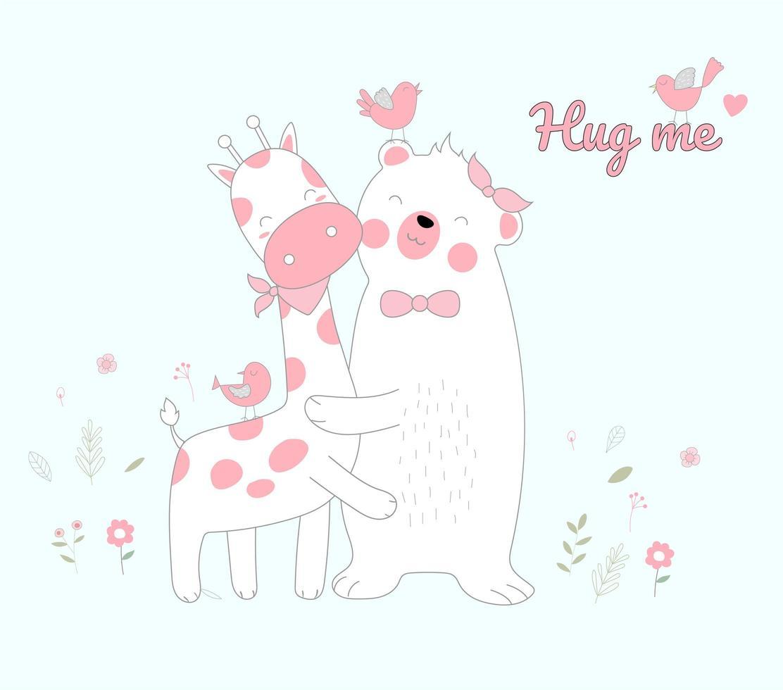 ours blanc de style dessiné à la main et étreindre la girafe vecteur