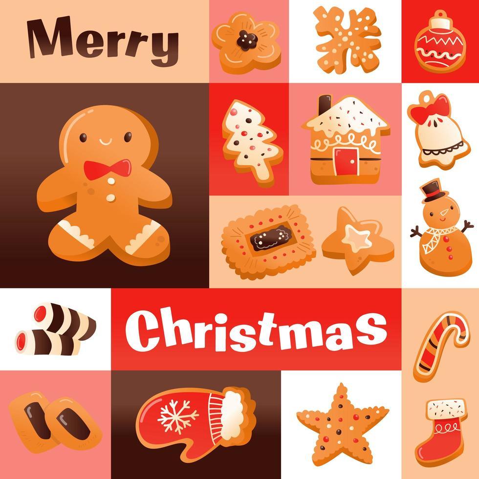 décoration en mosaïque de biscuits de noël super mignons vecteur