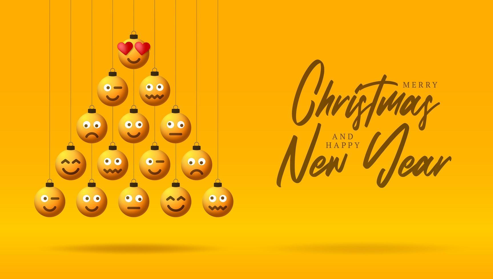 voeux de vacances avec des ornements de visage emoji en forme d'arbre vecteur