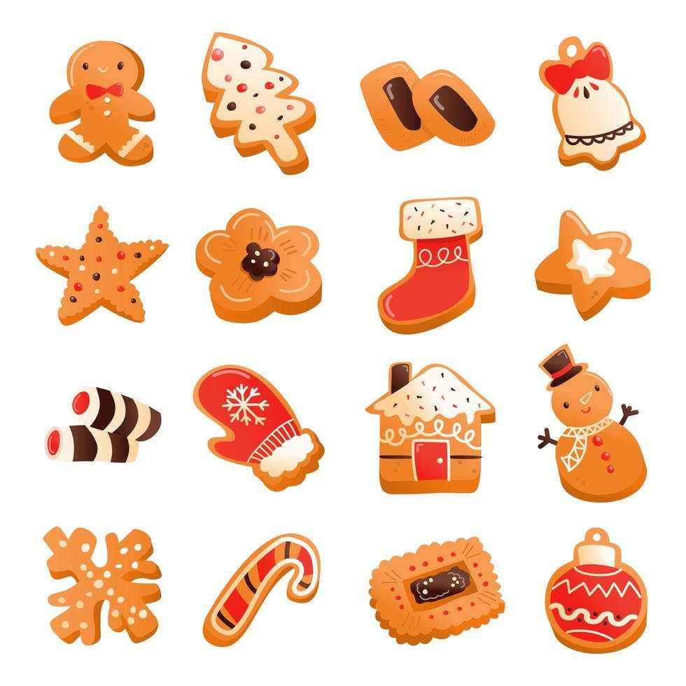 ensemble de biscuits de Noël super mignons en pain d'épice vecteur