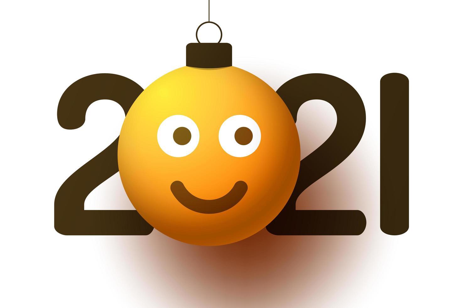Voeux de nouvel an 2021 avec ornement de visage souriant emoji vecteur