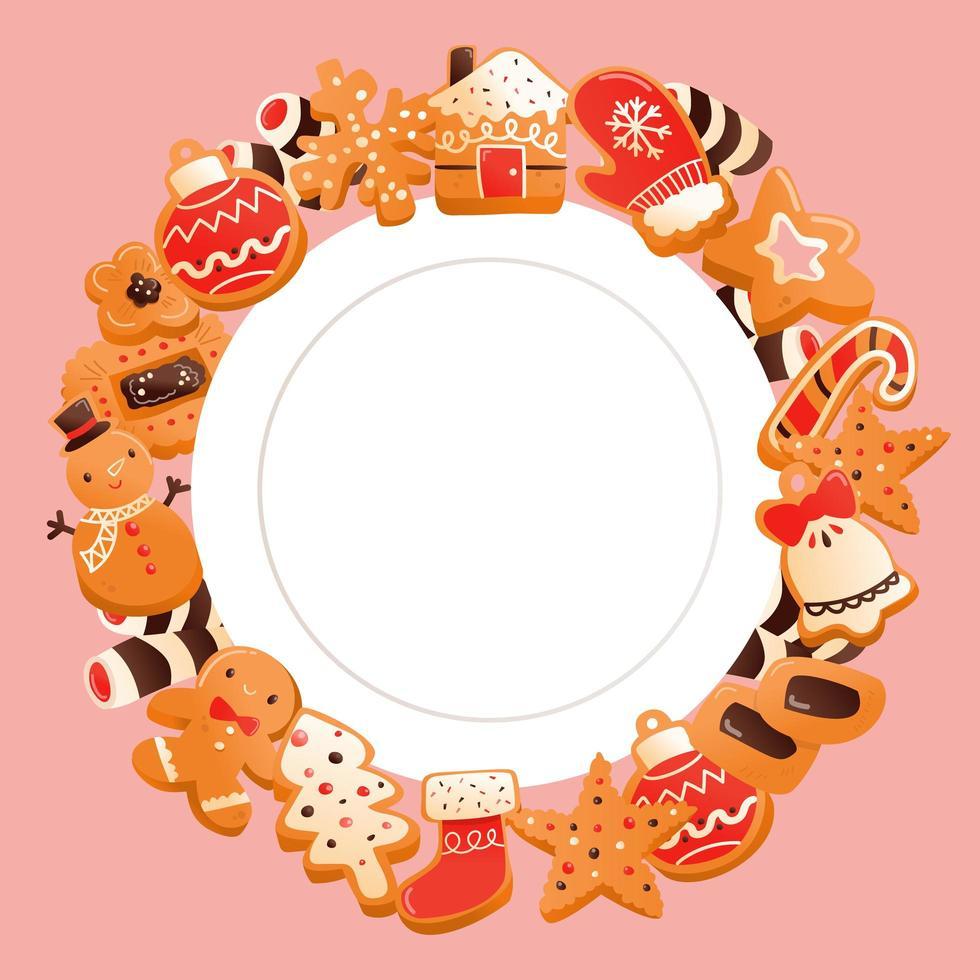 Biscuits de Noël super mignons en pain d'épice copient la conception de l'espace vecteur