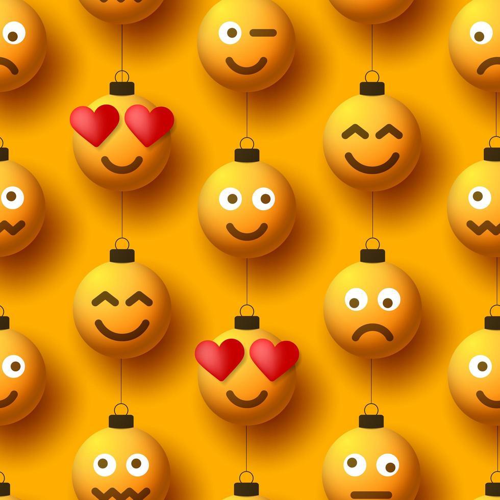 Modèle sans couture d'ornements de boule de noël jaune emoji vecteur