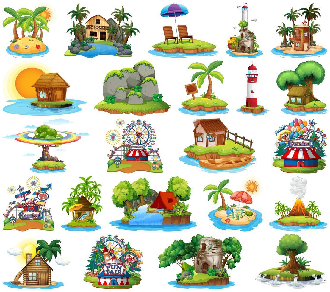 Ensemble de différents bangalows et thème de la plage de l'île et parc d'attractions isolé sur fond blanc vecteur