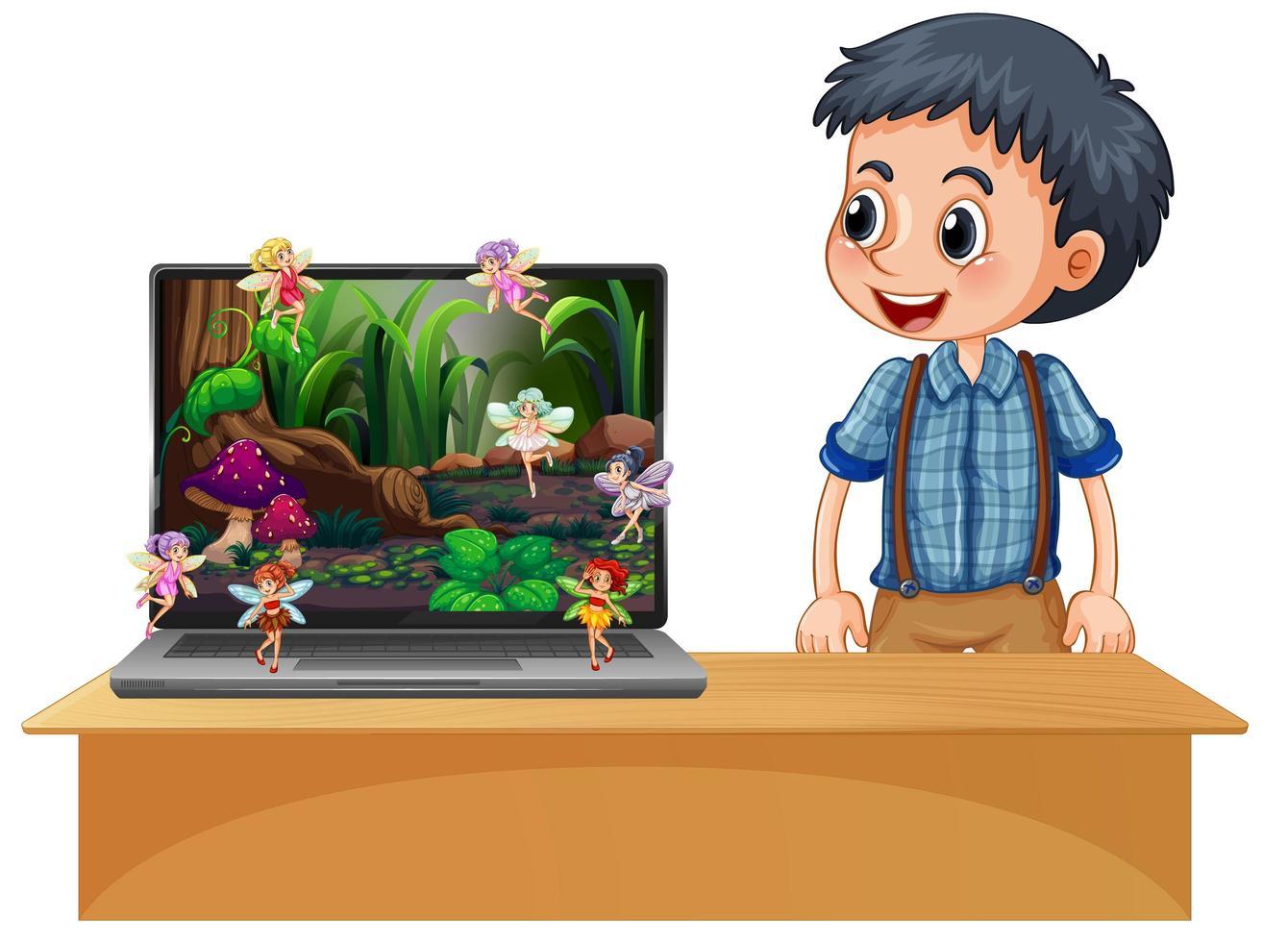 garçon heureux à côté de fond d'écran de conte de fées ordinateur portable vecteur