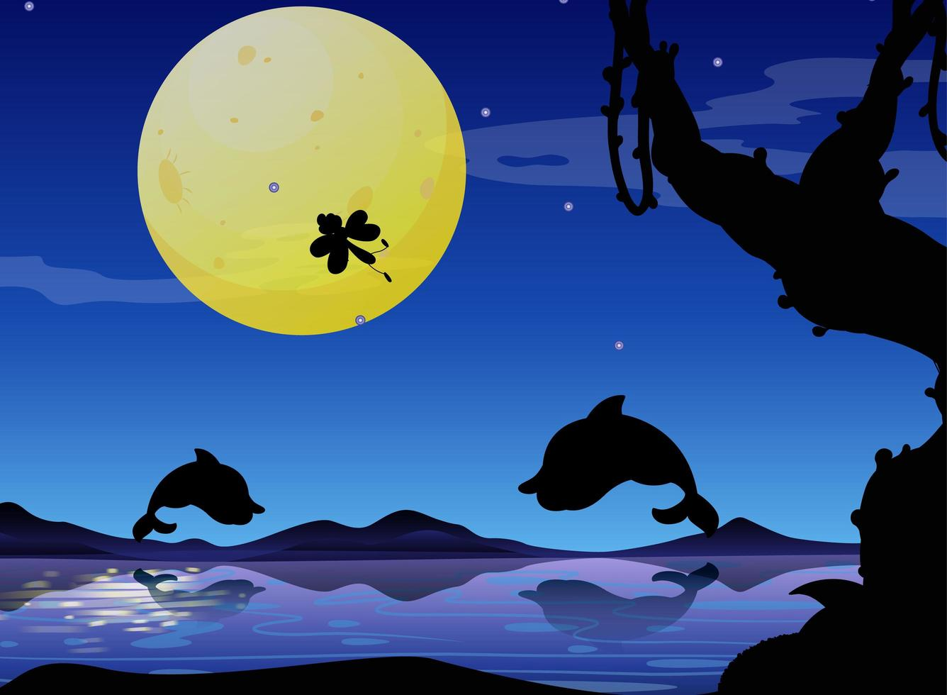 dauphin dans la nature scène silhouette vecteur