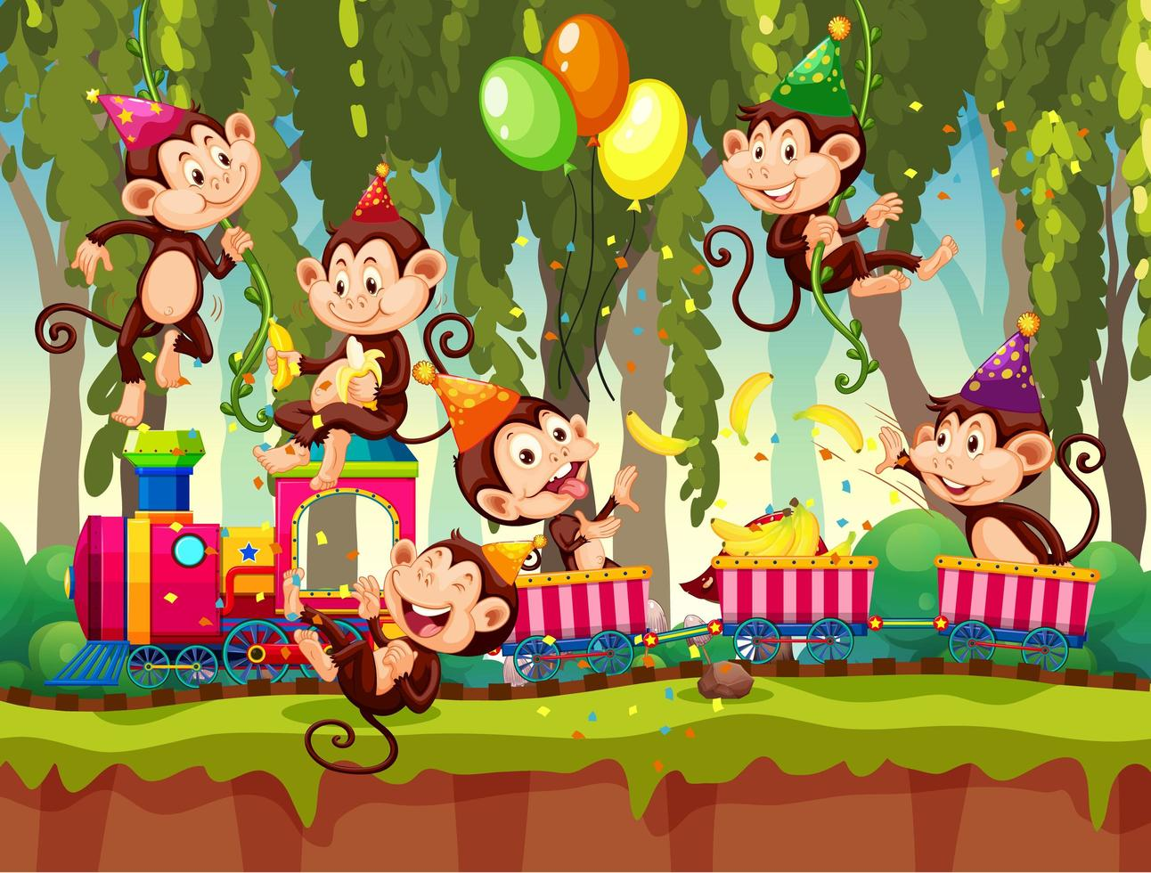 beaucoup de singes dans le thème de la fête en fond de forêt nature vecteur