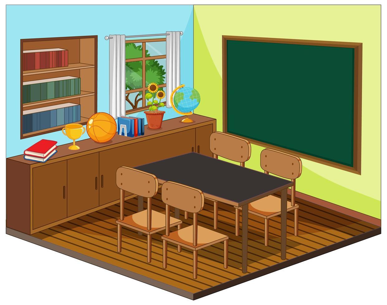 intérieur de la salle de classe vide avec des éléments de la classe vecteur