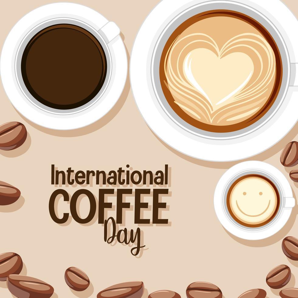 bannière de lettre de la journée internationale du café vecteur