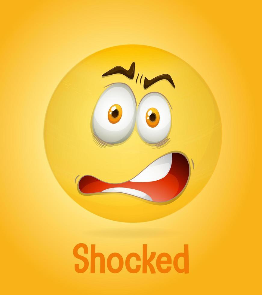 Visage jaune émotionnel choqué avec texte fatigué sur fond jaune vecteur