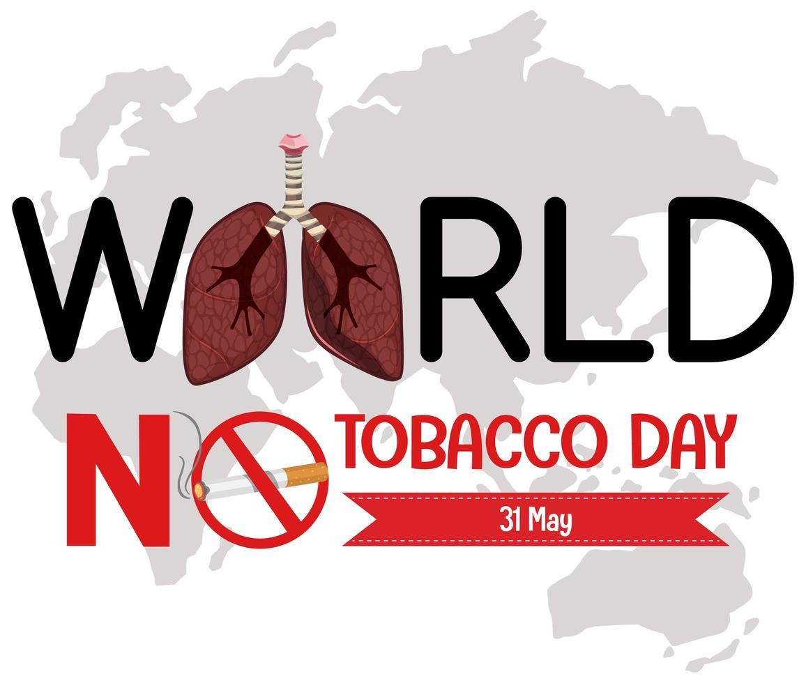 logo de la journée mondiale sans tabac avec panneau rouge interdit de fumer vecteur