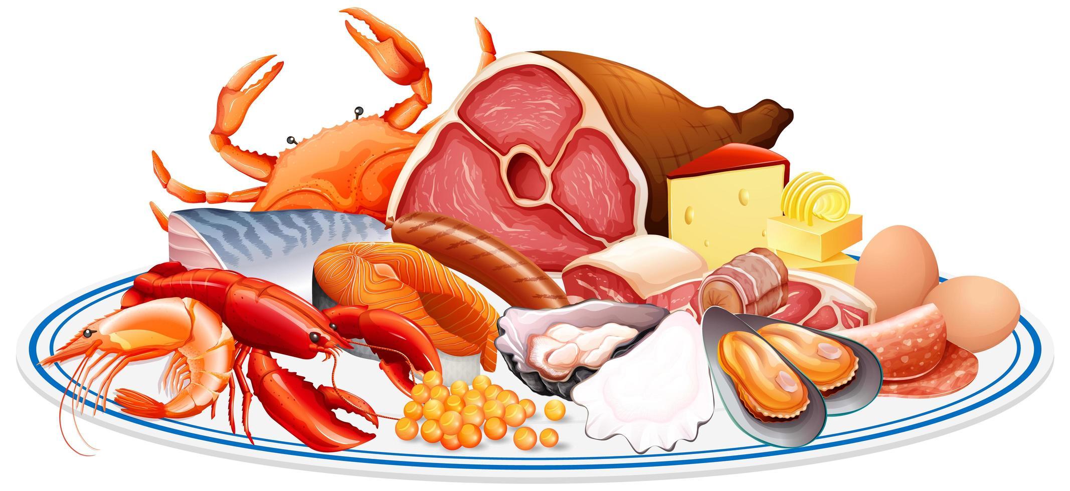 aliments frais ou groupes de protéines alimentaires tels que la viande de fruits de mer oeuf et noix dans un groupe isolé sur fond blanc vecteur