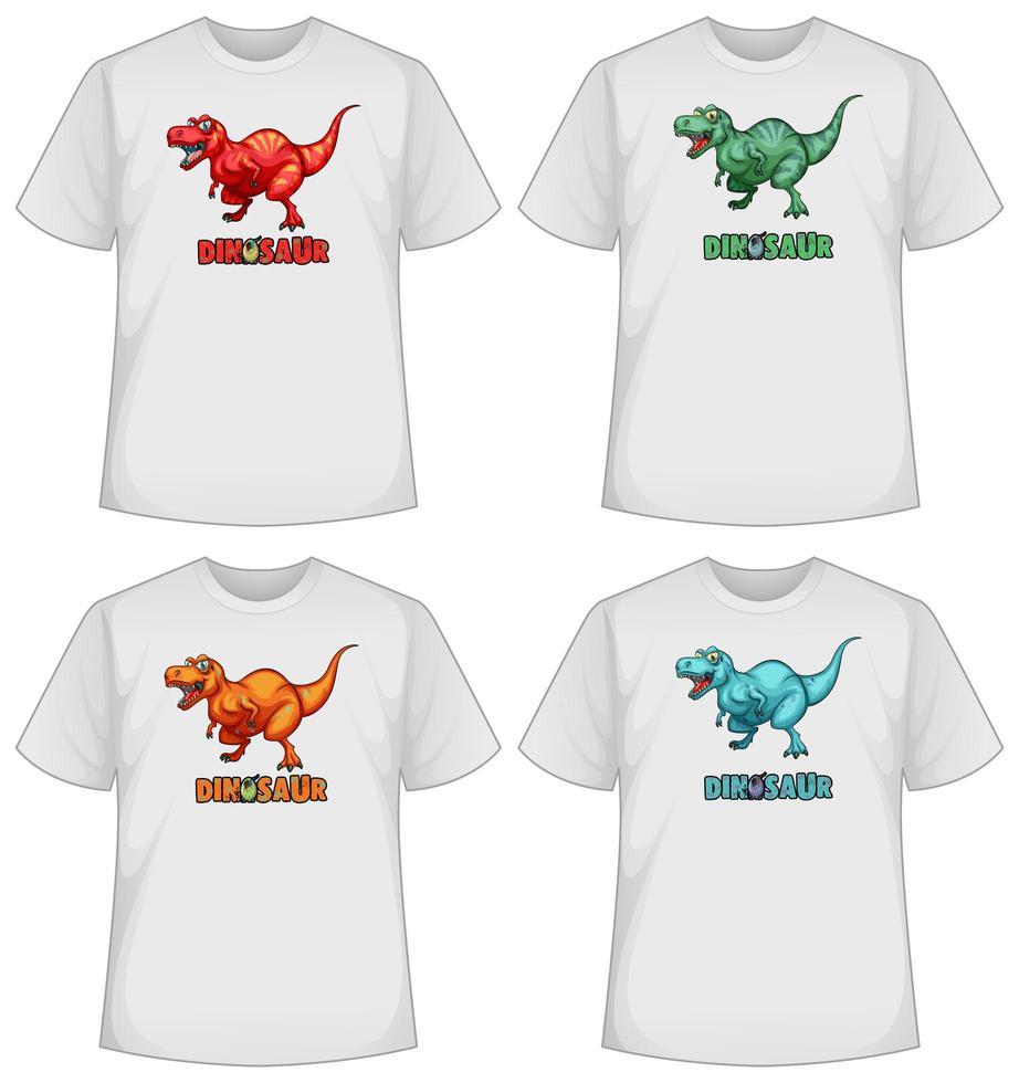 ensemble d & # 39; écran de dinosaure de couleur différente sur des t-shirts vecteur