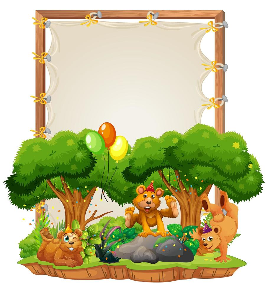 modèle de cadre en bois de toile avec des ours en thème de fête isolé vecteur