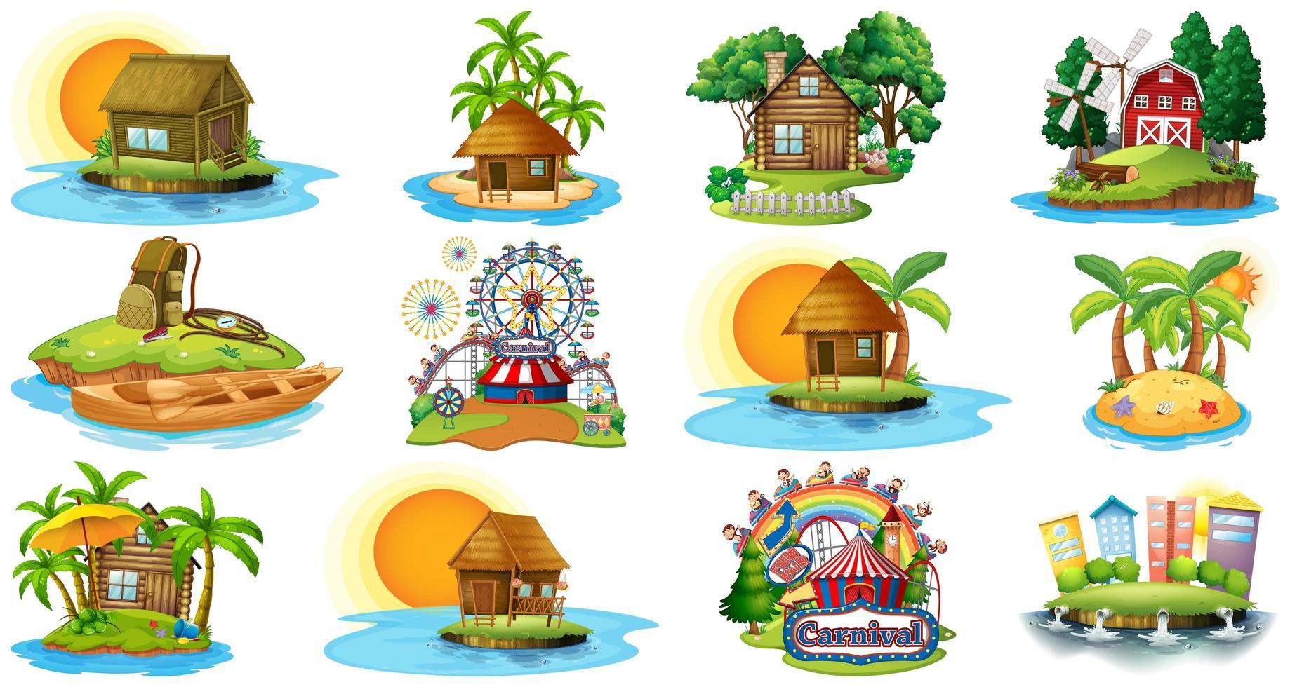 ensemble de différents bungalows et thème de la plage de l'île vecteur