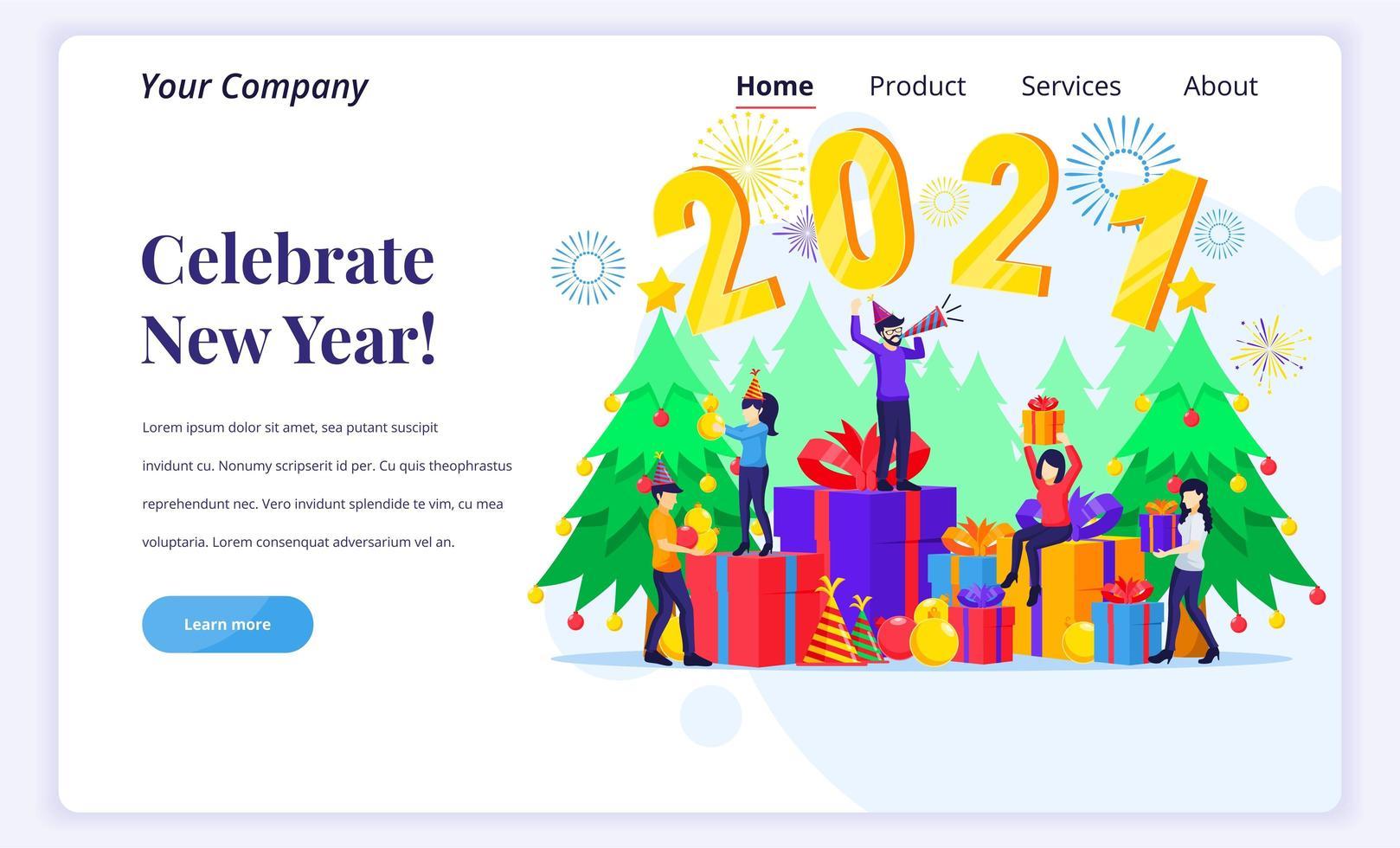 personnes célébrant la bonne année 2021 vecteur
