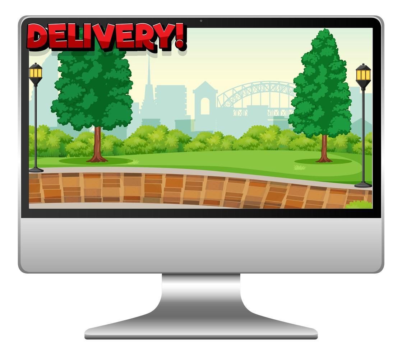 ordinateur avec logo de livraison vecteur
