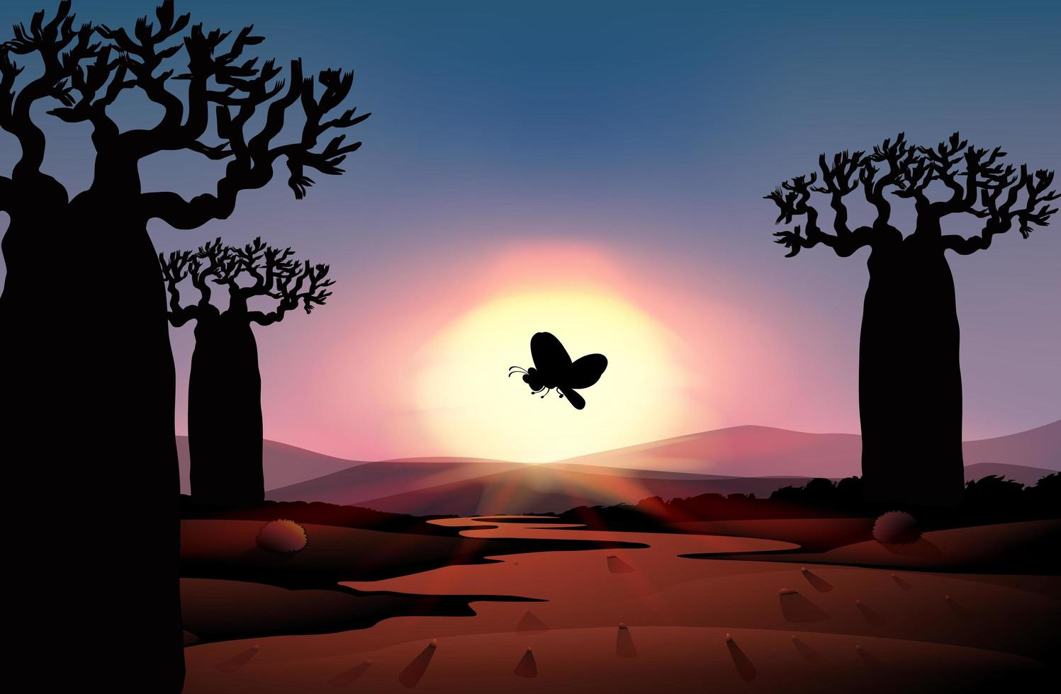scène de coucher de soleil silhouette nature en plein air vecteur