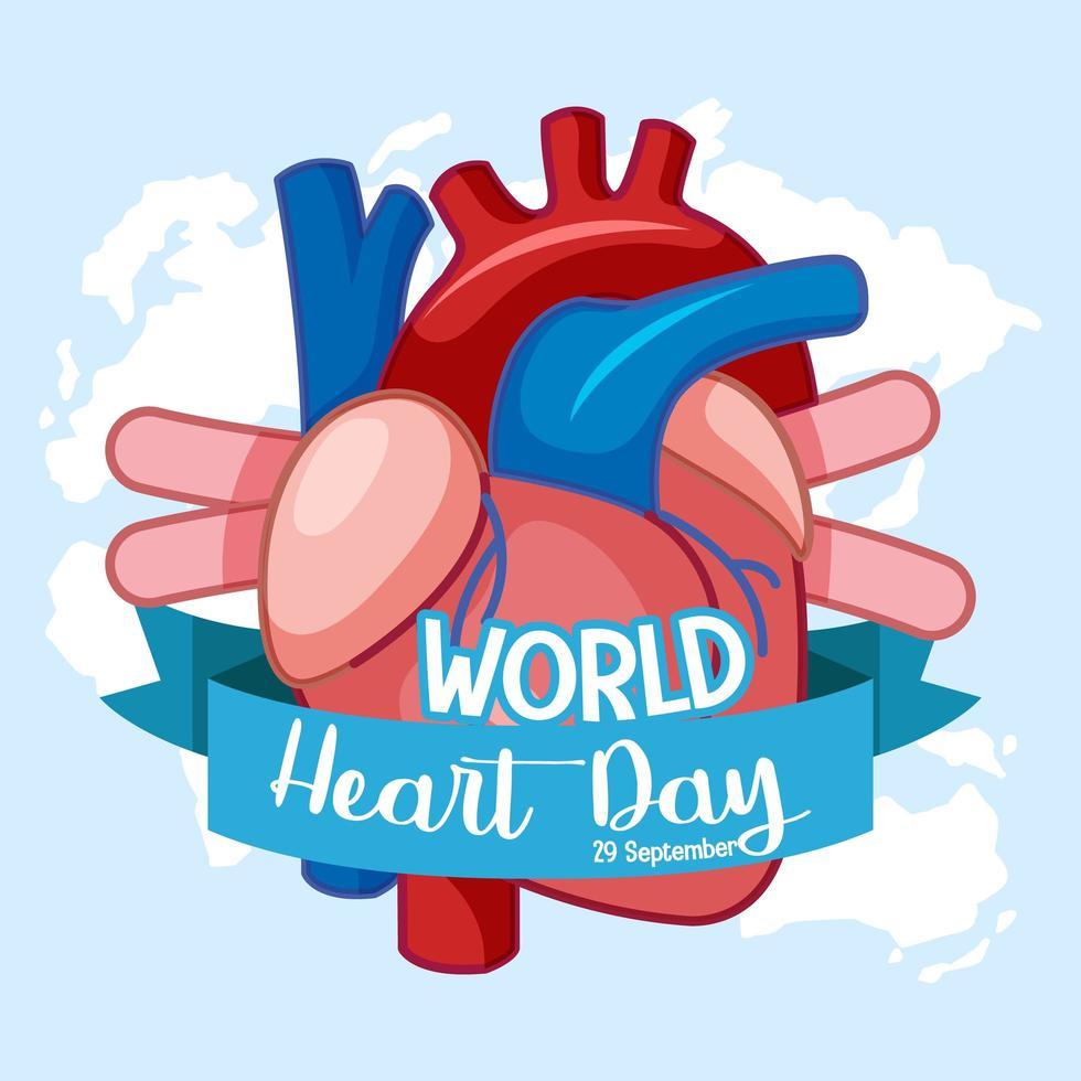 logo de la journée mondiale du coeur isolé vecteur