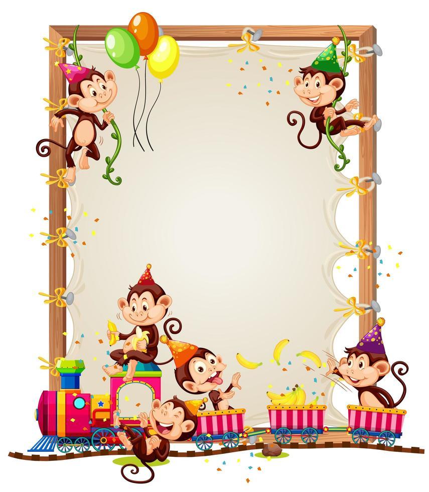 modèle de cadre en bois de toile avec des singes dans le thème de la fête isolé vecteur