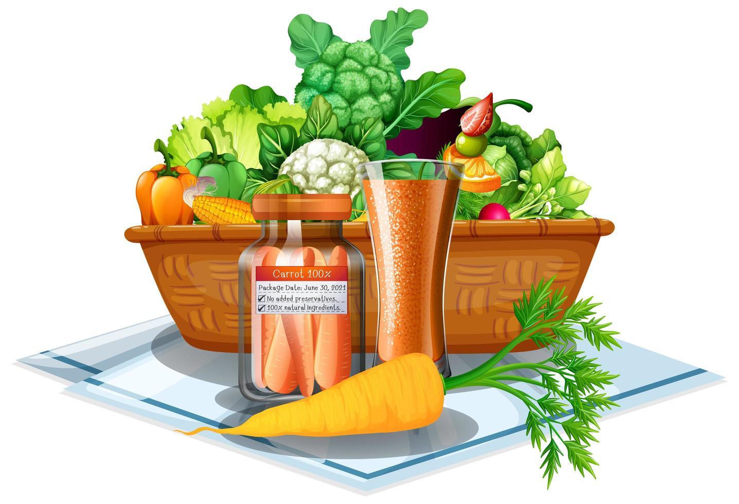 Légumes et fruits dans un panier isolé sur fond blanc vecteur