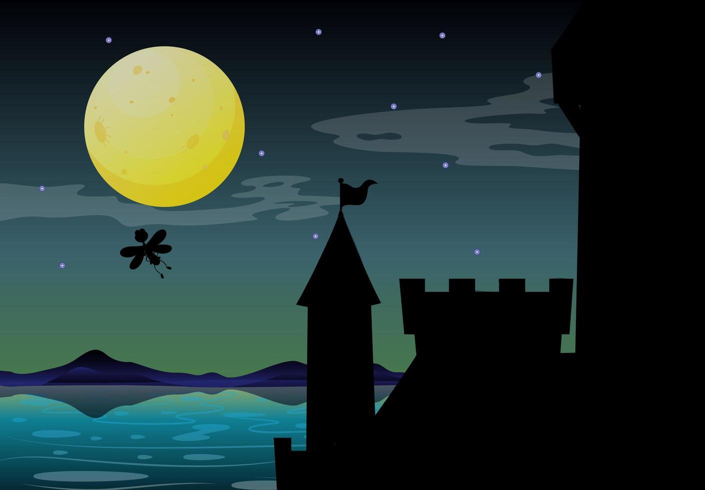 scène de château la nuit vecteur