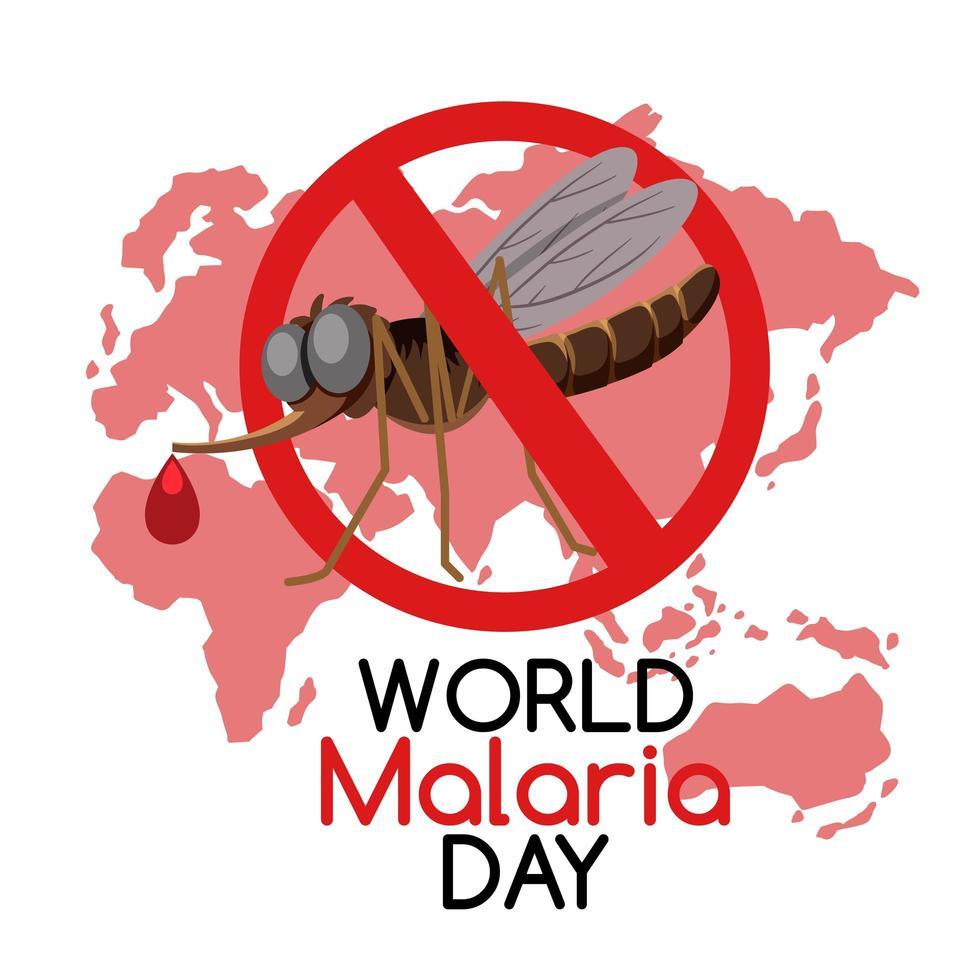 logo de la journée mondiale du paludisme ou bannière sans moustique sur fond de carte du monde vecteur