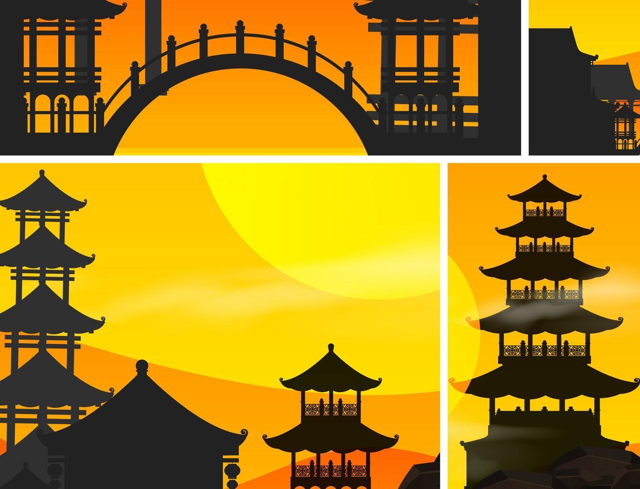 fond de coucher de soleil chinois vecteur
