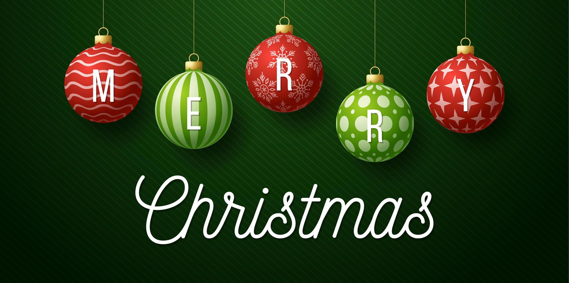 bannière de Noël avec des ornements de boules rouges et vertes ornées vecteur