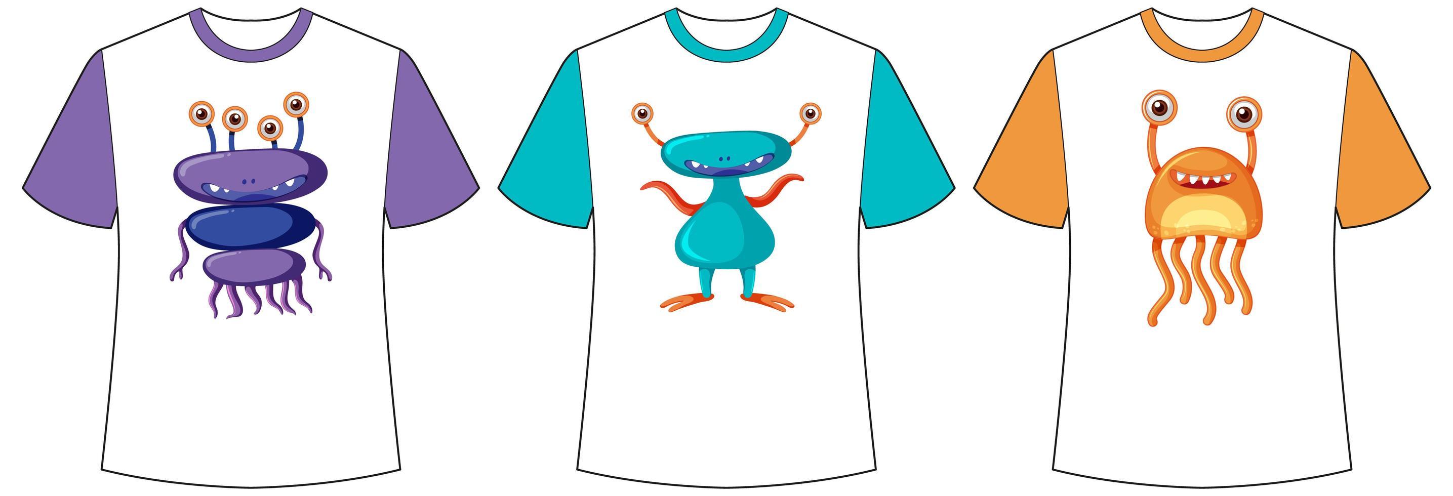 Ensemble d & # 39; écran de monstres mignons ou d & # 39; extraterrestres de couleur différente sur des t-shirts vecteur