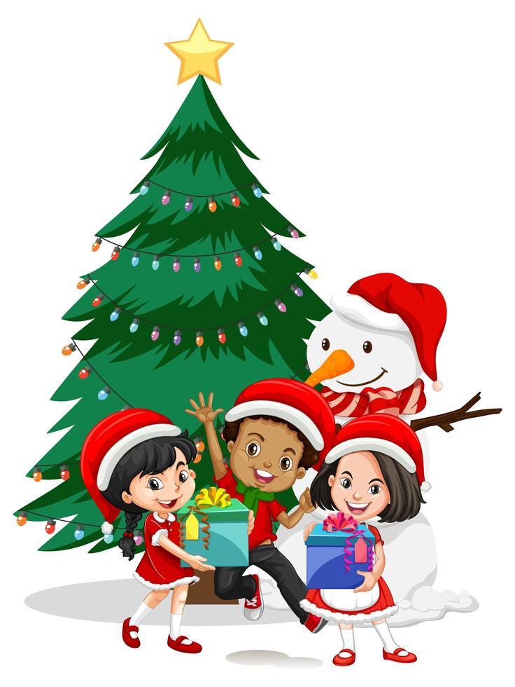 Les enfants portent un personnage de dessin animé de costume de Noël avec bonhomme de neige sur fond blanc vecteur
