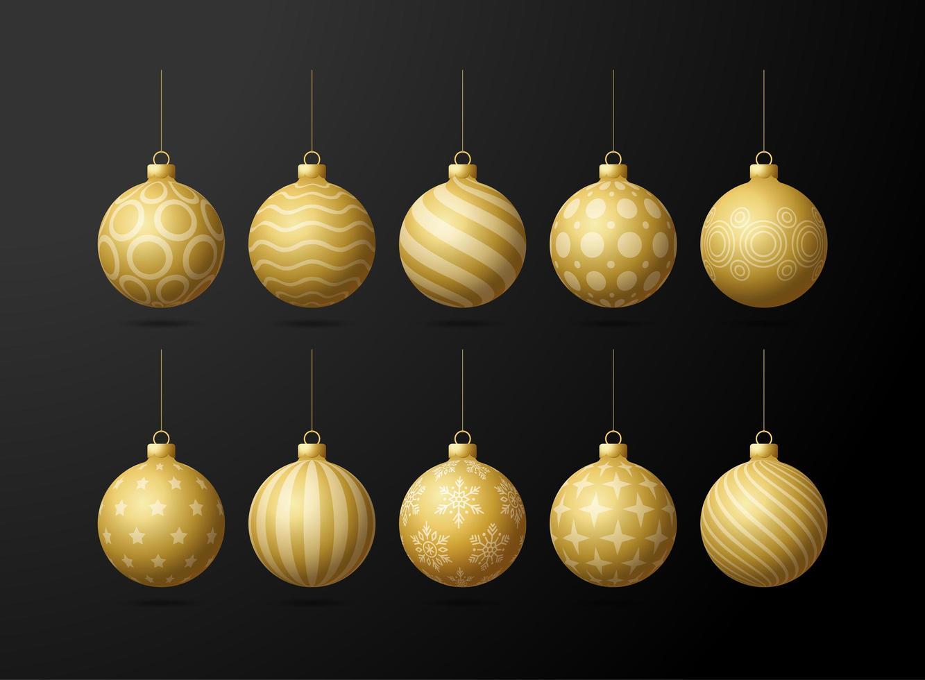 Jeu de boules de sapin de Noël or isolé sur fond noir vecteur